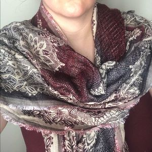 Reversible Burgundy Viscose Raw Hem Cozy Scarf